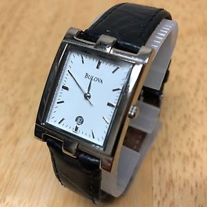 【送料無料】bulova 96b47 men lady silver rectangle analog quartz watch hour~date~ battery