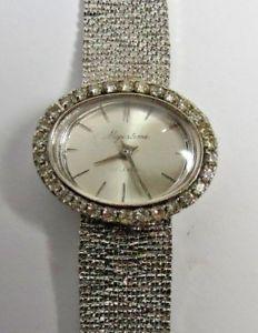 【送料無料】vintage bracelet silver majestime tone w clear stones winding 17j wristwatch