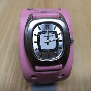 vintage vestal lady wide pink leather silver barrel quartz watch hour~ batter