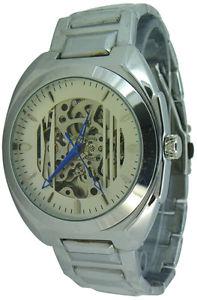 【送料無料】mens self winding full skeleton automatic continuous movement metal strap watch