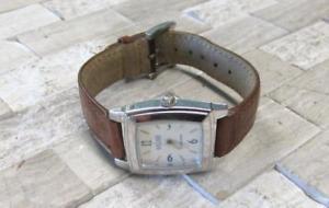 【送料無料】ecclissi sterling silver womens wristwatch with genuine leather strap 12e7782