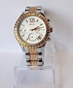 【送料無料】ladies relic zr15603 two tone chronograph quartz watch w date cal wr30m 0187