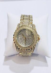 【送料無料】iced out shiny bling watch aaa stone settings micro pave handmade waterproof