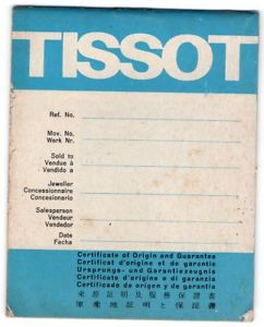 【送料無料】tissot watch guarantee certificate 1970s vintage booklet unsigned blank