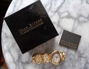 【送料無料】joan rivers gold crushed stone watch original box