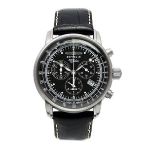 【送料無料】zeppelin 100 jahre zeppelin quarz, 76802, chronograph alarm, schwarz