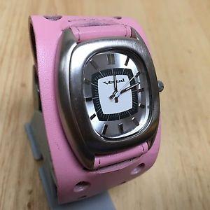 vintage vestal lady wide pink leather silver barrel quartz watch hour~ batter