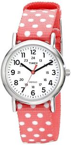 【送料無料】timex weekender womens silvertone watch reversible pink polka dot nylon strap
