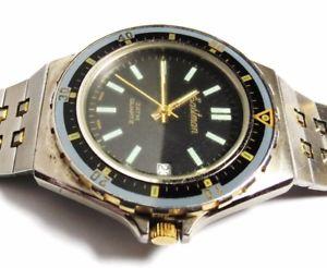【送料無料】vintage mens eastmen quartz 3 atm wristwatch tow tone day runs