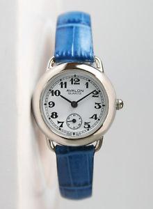 【送料無料】avalon classic series womens silvertone watch with blue leather strap 8422sx
