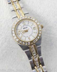 【送料無料】relic womans zr11785 stainless steel analog date crystal encrusted glitz watch