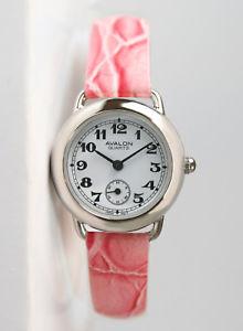 【送料無料】avalon classic series womens silvertone watch with pink leather strap 8422sx