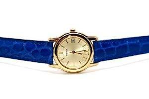 【送料無料】yema of france round gold stainless steel swiss movement blue crocodile leather
