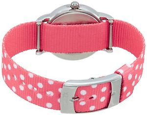 timex weekender womens silvertone watch reversible pink polka dot nylon strap