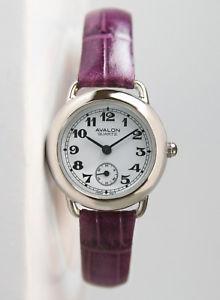 【送料無料】avalon classic series womens silvertone watch with purple leather strap 8422sx