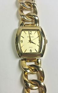 【送料無料】womens rj graziano gold tone chunky curb link wrist watch