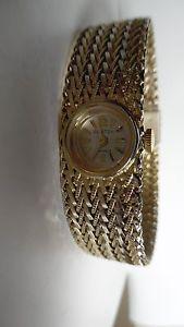 【送料無料】clinton womans 17 jewel watch goldtone metal 8 18 l 1116 wide very good cond