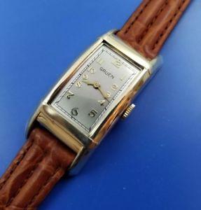 【送料無料】stunning antique 1929 mans gruen hand wind 45mm long case fully serviced warrant