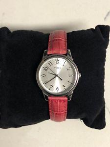 【送料無料】timex pink leather strap watch t2p125