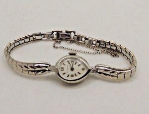 【送料無料】vintage wittnauer 17 jewels 10k white gp ladies wrist watch 26105d runs