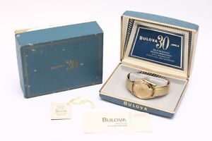 【送料無料】rare, mint vintage gold bulova 30 jewel selfwinding mens wrist watch w box