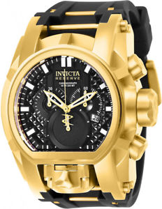 invicta mens reserve quartz gold plated stainless steel silicone watch 25607