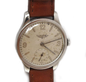 【送料無料】longines vintage 193940 rare steel mans 33mm watch excellent keeps time wel