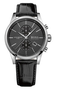 【送料無料】hugo boss 1513279 herrenuhr chrono chronograph leder schwarz neu