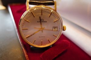 【送料無料】neues angebotgarrard 9ct gold gents quartz watch 9k with all boxes as seen just serviced