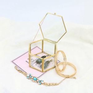 【送料無料】hexagonal jewelry boxes geometric shape glass flower room