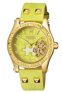 【送料無料】rebel womens rb1119171 gravesend gold ip steel limegreen leather wristwatch