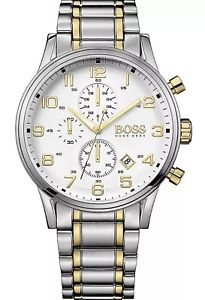 hugo boss hb1513236 dual tone chronograph stainless steel mens wrist watch