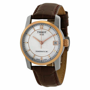 【送料無料】 tissot titanium brown leather strap womens automatic watch t0872075611700