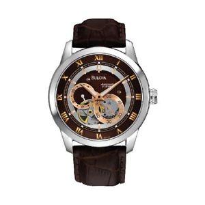 【送料無料】orologio solo tempo automatico uomo bulova 96a120 cassa acciaio pelle marrone