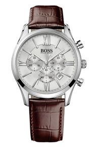 【送料無料】hugo boss 1513195 ambassador round herrenuhr chrono chronograph leder braun neu