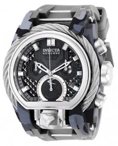【送料無料】invicta mens reserve quartz chrono 200m stainless steelsilicone watch 26439