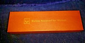 vintage empty bolova accutron for woman hinged box and cardboard gift box