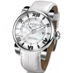 【送料無料】orologio automatico uomo locman toscano 0590v1200mwpsw vera pelle bianco