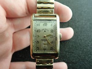 【送料無料】vintage oversized lord elgin wristwatch 14k solid gold running and keeping time