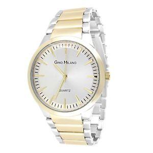 【送料無料】wrist watch for men amp; women sharp matte finish gold silver two tone round casual
