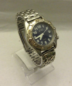 mens time force silver tone date 100 m wr italian design watch  battery 9088