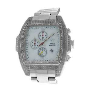 【送料無料】authentic mens aqua master mother of pearl steel chrono date quartz watch