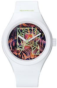 【送料無料】reebok icon vibrant foliage womens analog watch white silicone rcivfl2pwiwxx