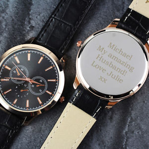 【送料無料】personalised mens rose gold watch with presentation box birthday gift christmas