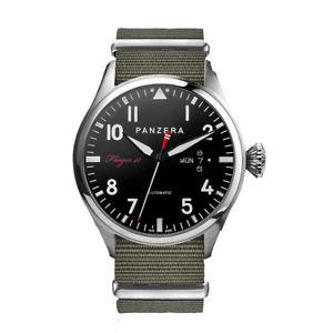 【送料無料】panzera flieger 47 automatico acciaio pilot nero tessuto verde orologio uomo