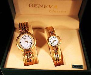 【送料無料】geneva set of 2 watch, quartz, rare, collectable