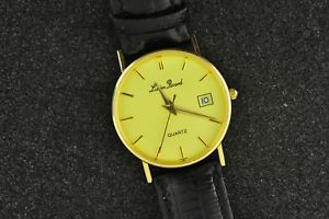 【送料無料】very fine 14k solid gold lucien piccard quartz wristwatch with date keeping time