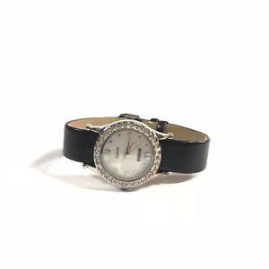【送料無料】benrus womens crystal paved silver watch