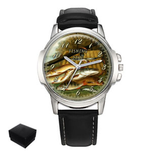 【送料無料】fishing time fisherman gents mens wrist watch gift box engraving