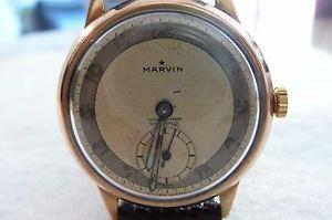 【送料無料】vintage hallmarked 9ct gold marvin 15 jewel mens wristwatchgoing condition